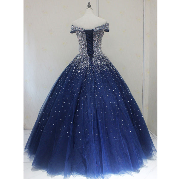 Blue Sparkle Off Shoulder Ball Party Dress , Handmade Beaded Party Dress