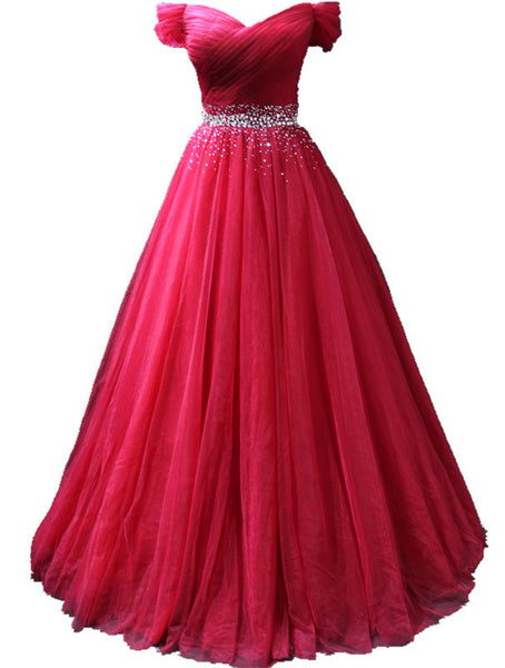 red off shoulder gown 2020