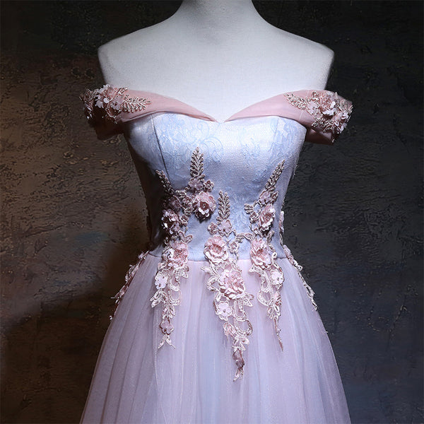 Elegant Handmade Pink Sweetheart Lace Top Junior Prom Dress, Pink Formal Gown