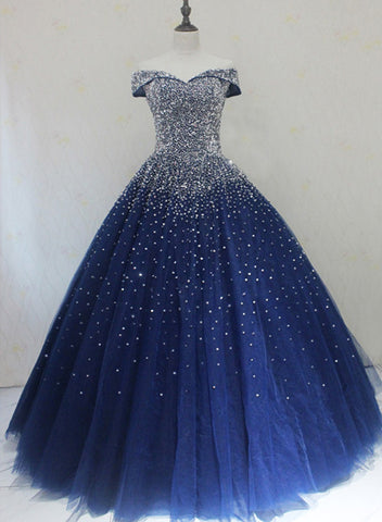 Blue Sparkle Off Shoulder Ball Party Dress 2019, Handmade Beaded Party Dress