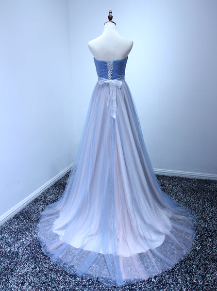 Charming Pretty Tulle Long Formal Dress, Blue Sweetheart Party Gown 2019