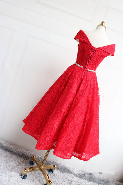 Elegant Red Lace Tea Length Party Dress, Lace Bridesmaid Dress