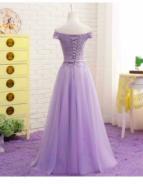 Lovely Light Purple Sweetheart Long Party Dress, Tulle Lace Applique Formal Dress