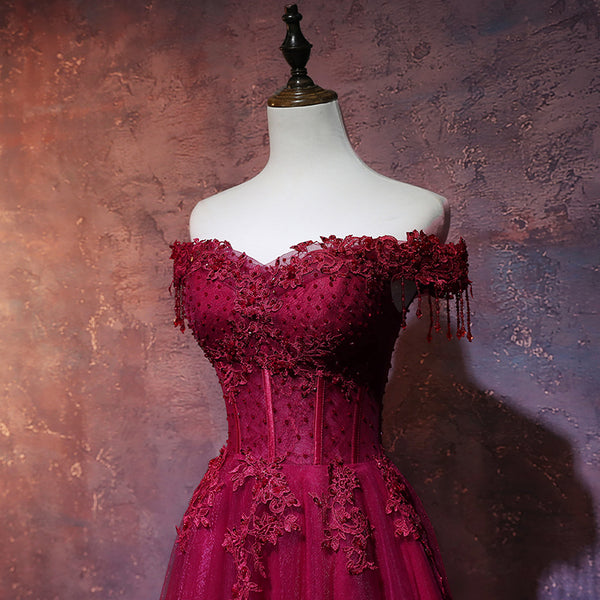 Beautiful Wine Red Tulle Sweetheart Long Prom Dress, A-line Party Dress