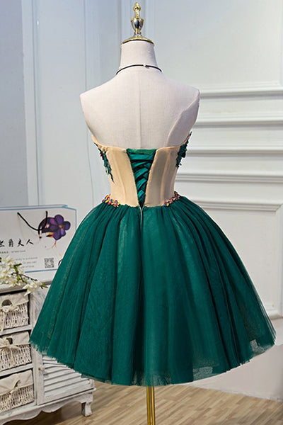 Sweetheart Tulle Dark Green Homecoming Dress, Lovely Formal Dress 2019