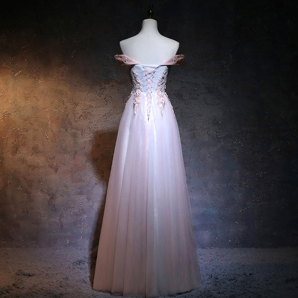 Beautiful Light Pink Sweetheart Off Shoulder Party Dress, Long Prom Dress 2020