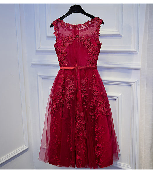 Wine Red Lace Short Homecoming Dress, Round Neckline Short Prom Dress
