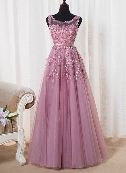 Beautiful Pink Tulle Round Neckline Long Party Dress, A-line Floor Length Prom Dress