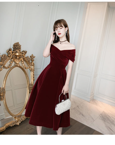 Charming Wine Red Velvet Sweetheart Bridesmaid Dress, Vingage Prom Dress Party Dress