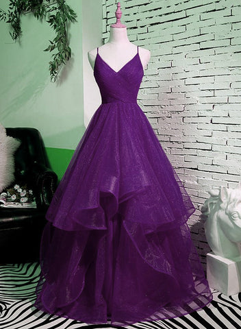 Beautiful Purple V-neckline Straps Layers Tulle Party Gown, Purple Evening Dress