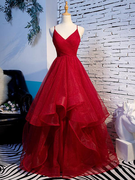 Charming Wine Red Straps Sweetehart Layers Tulle Prom Dress, Long Party Dress