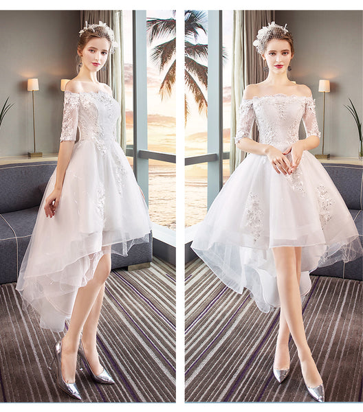 White Off Shoulder High Low Tulle Party Dress, Tulle with Lace Applique Graduation Dress Party Dress