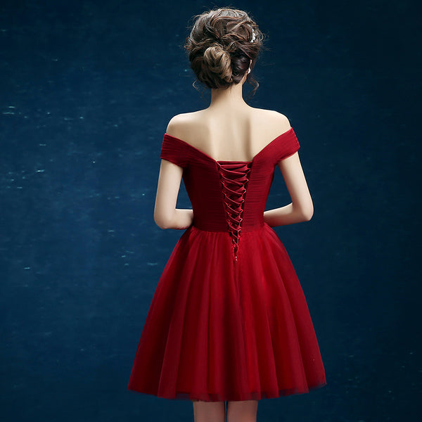 Wine Red Sweetheart Off Shoulder Tulle Homecoming Dress, Wine Red Short Prom Dress