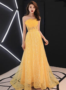 Unique Yellow Tulle Style Beaded Flowers Formal Gown, Yellow Long Prom Dress Party Dress