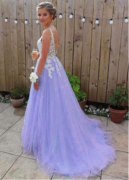 Light Purple Tulle Long Formal Gown, New Fashionable Prom Dress 2020