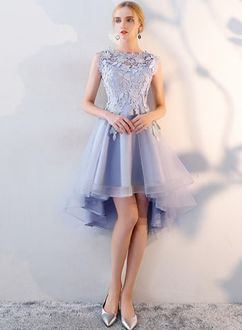 Chic High Low Tulle Homecoming Dress with Lace, Short Prom Dress Graduation Dress