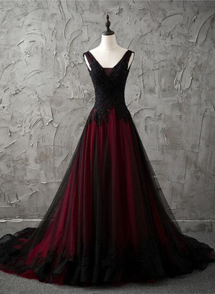 Charming Sleeveless Black and Red Lace Appliques Beaded Party Dress, Low Back Prom Dress