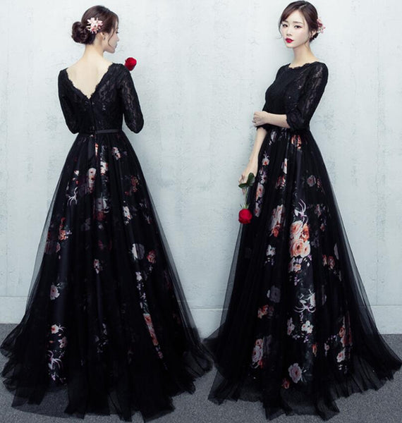 Beautiful Black Floral Tulle Long Party Dress, Long Sleeves Formal Dress