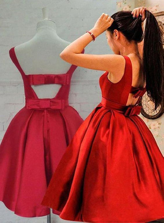 Beautiful Red Satin Knee Length Party Dress 2019, Red Homecoming Dresses 2019