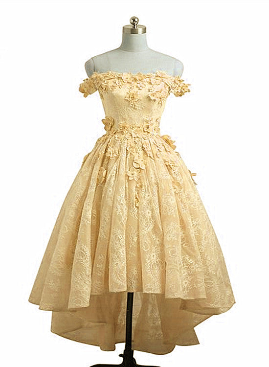 Lovely Yellow Off Shoulder Lace High Low Party Dress, Yellow Formal Dress 2020