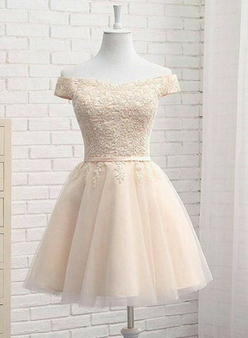 Light Champagne Off Shoulder Short Tulle Homecoming Dress, Short Formal Dress