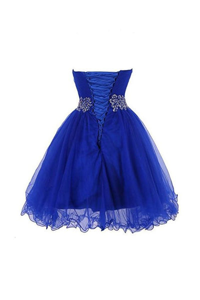 Cute Blue Sweetheart Tulle Cocktail Dress Homecoming Dress With Beading, Short Prom Dress