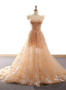 Pretty Champagne Straps Custom Tulle Party Dress, Lace Applique Formal Dress