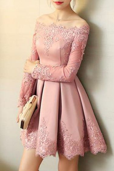 Pink Long Sleeves Satin Party Dress, Pink Homecoming Dress