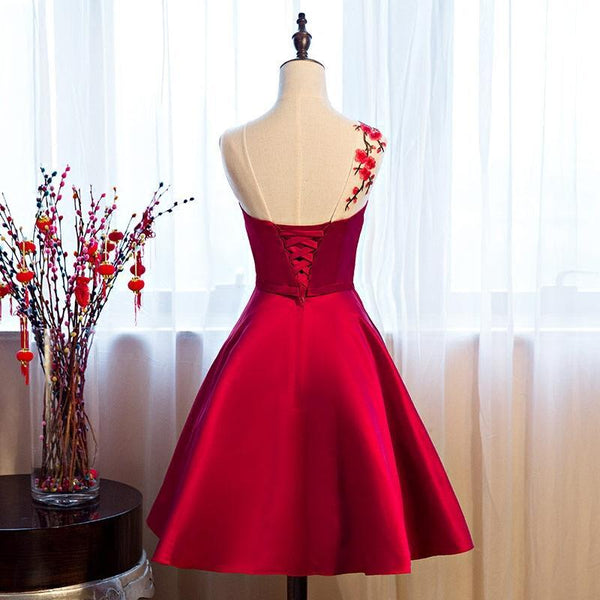 Beautiful Red Satin Knee Length Party Dress, Cute Bridesmaid Dress