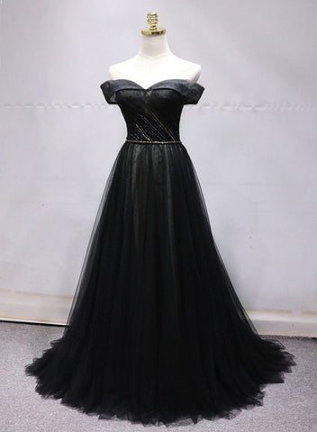 black tulle off the shoulder dress