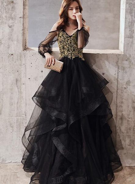Black Tulle Long Sleeves Layers Party Dress with Gold Lace, Black Evening Dress Prom Dress