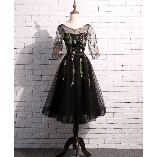 Lovely Black Short Sleeves Tulle Tea Length Wedding Party Dress, Black Flowers Bridesmaid Dresses