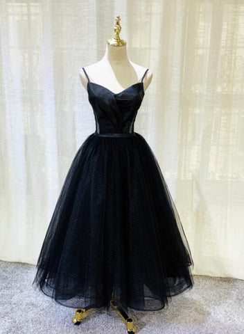 Beautiful Black Tulle V-neckline Tea Length Party Dress, Black Wedding Party Dress