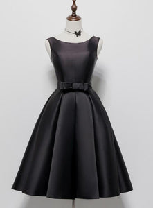 Black Satin Knee Length Round Neckline Party Dress, Black Short Prom Dress