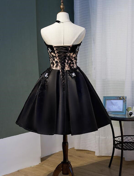 Charming Black Satin with Lace Applique Homecoming Dress, Knee Length Prom Dress