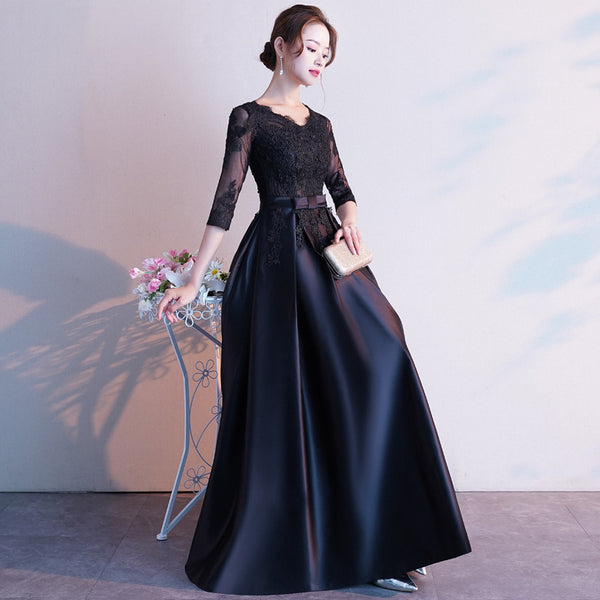 Black Satin with Lace Short Sleeves Formal Dress, Black Long Prom Dress, Party Dress