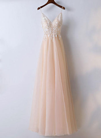Pink V-neckline Tulle with White Lace Prom Dress, Pearl Pink Eveing Dress