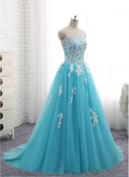 Gorgeous Blue Long Formal Gown 2019, Blue Party Dress, Sweet 16 Dresses
