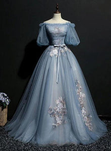 Blue Short Sleeves Long Tulle with Flower Applique Party Dress, Blue Sweet 16 Dress