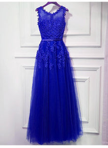 Beautiful Royal Blue Tulle Beaded Long Party Dress, Blue Prom Dress 2021