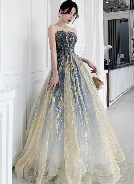 Beautiful Tulle Long Lace-up Beaded Party Dress, Blue Prom Dress 2021