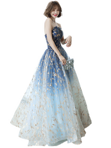 Beautiful Gradient Tulle Long Blue Prom Dress, Charming Floor Length Formal Dress