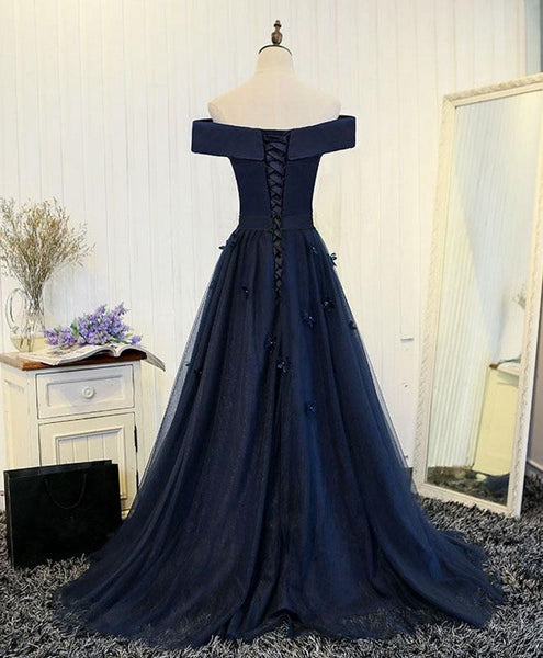 Navy Blue Off Shoulder Tulle Long Party Dress, A-line Floor Length Prom Dress