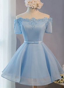 Blue Short Sleeves Lace Applique Homecoming Dress, Blue Prom Dress