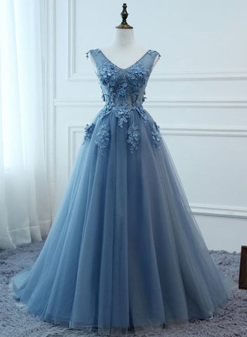 Cute Blue V-neckline Flowers Lace Tulle Evening Dress Party Dress, Blue Formal Dress