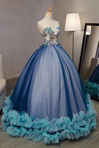 Charming Blue Tulle Strapless Long A Line Sweet 16 Prom Dress, Floral Evening Dress