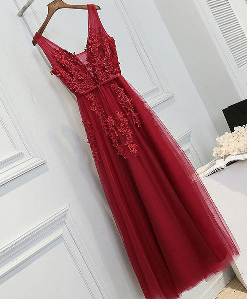 Charming Dark Red Tulle V-neckline Long Bridesmaid Dress, Beautiful Formal Gowns