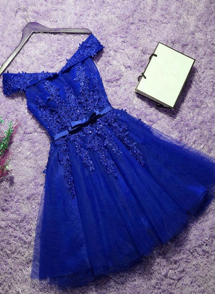 royal blue tulle homecoming dress