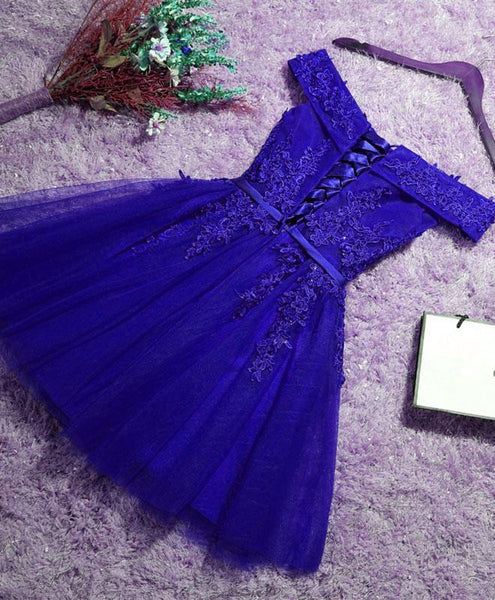 Beautiful Blue Tulle Homecoming Dress 2019, Short Party Dresses