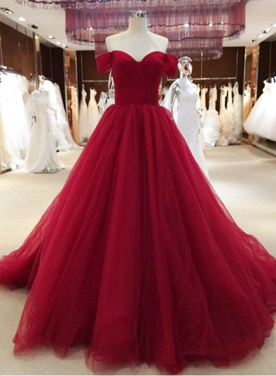 Beautiful Wine Red Off Shoulder Sweetheart Long Formal Gown, Red Party Dress 2019